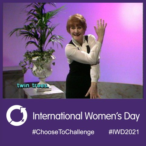 Image of D. Miles, with hashtages and logo for international women's day